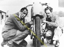 Brough Superior. Noel Pope, Francis Beart at Brooklands 1930s (ex Fernihough)